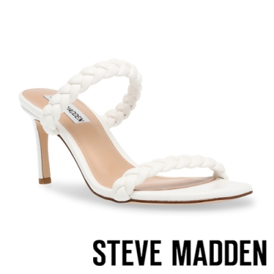 STEVE MADDEN-ZAYNA 編織雙帶方頭細跟拖鞋-白色