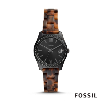 FOSSIL SCARLETTE MINI 鑲鑽琥珀質地女錶-黑色 32MM ES4638