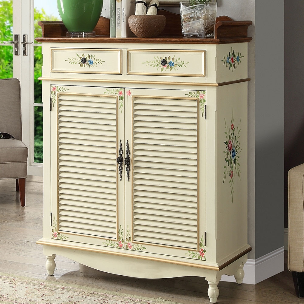 Asllie維妮手工彩繪兩抽二門鞋櫃/置物櫃/玄關櫃-白色-100x40x134cm