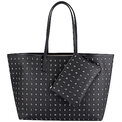 agnes b. voyage 黑色品牌字樣防水材質大型托特包