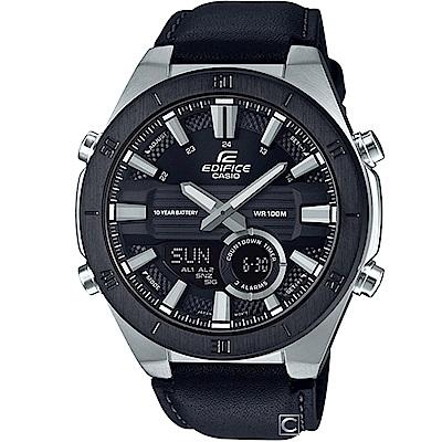 EDIFICE 3D立體雙顯多功能錶(ERA-110BL-1A)黑皮/47.6mm