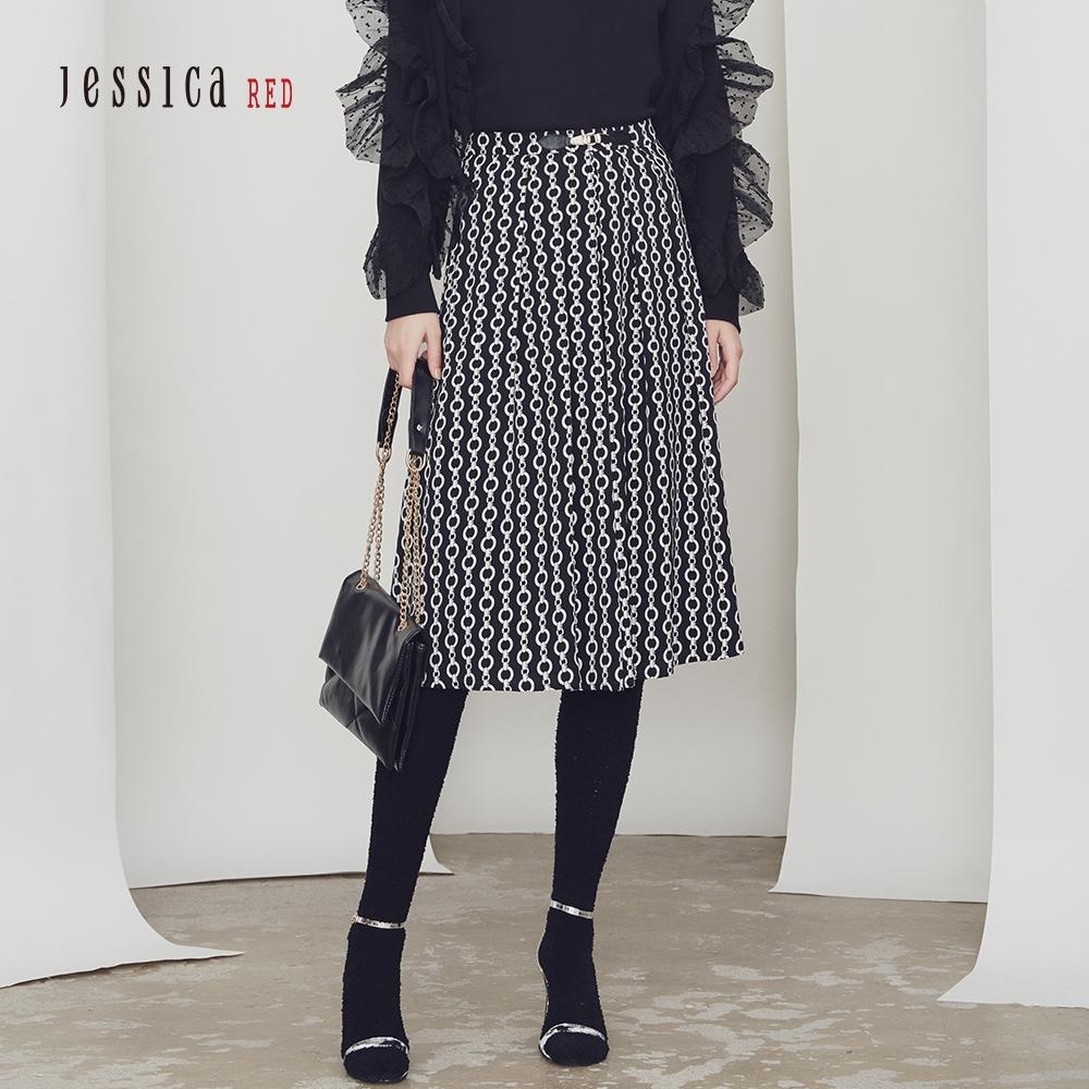 JESSICA RED - 黑色時尚優雅幾何印花過膝半身裙