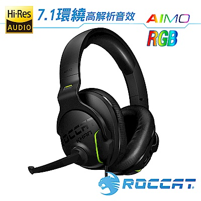 ROCCAT KHAN AIMO-7.1 悍音-艾摩版高解析RGB電競耳機-黑