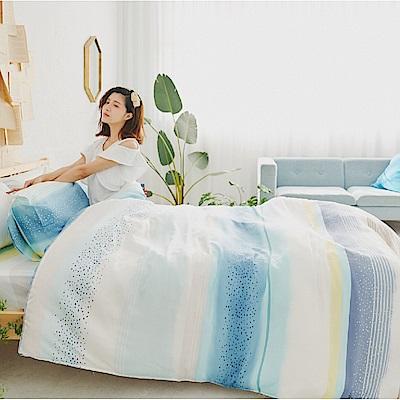 BUHO 100%TENCEL純天絲舖棉兩用被床包組-雙人加大(澄采沁藍)