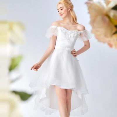 OMUSES 一字領前短後長紗裙禮服