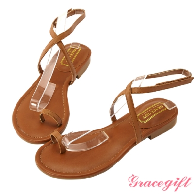 Grace gift-真皮交叉細帶套趾涼鞋 棕
