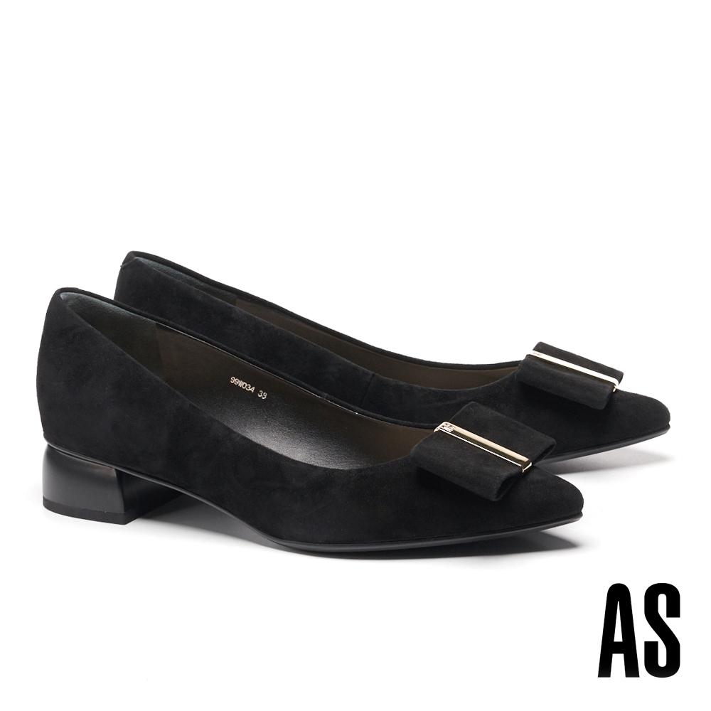 低跟鞋 AS 內斂時尚扁平蝴蝶結全真皮尖頭低跟鞋-黑