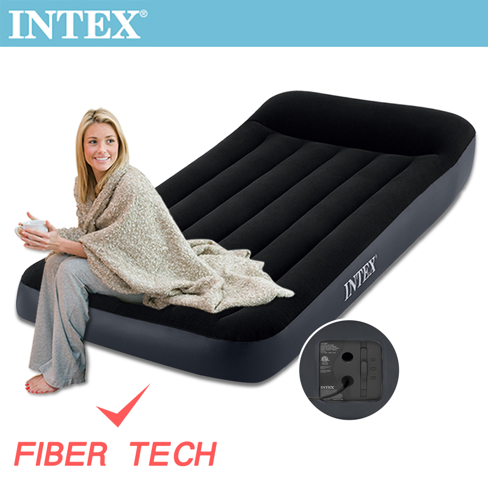 INTEX 舒適單人(FIBER TECH)內建電動幫浦充氣床-寬99cm(64145)