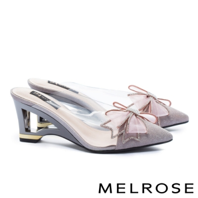 拖鞋 MELROSE 氣質時尚異材質拼接晶鑽蝴蝶結尖頭高跟穆勒拖鞋-粉