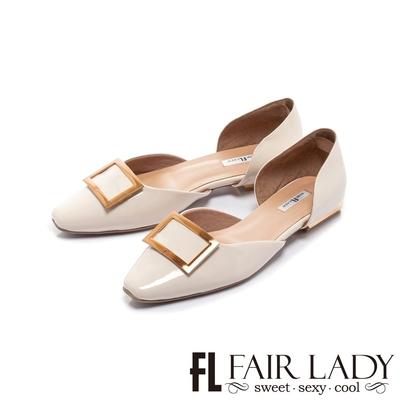 FAIR LADY  優雅小姐 金屬方釦漆面平底鞋 米白