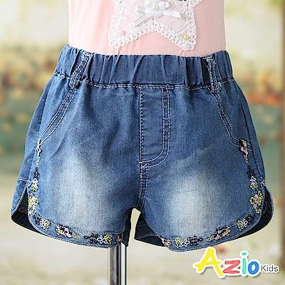Azio Kids 短褲 短褲 線繡彩色花邊鬆緊牛仔短褲(藍)
