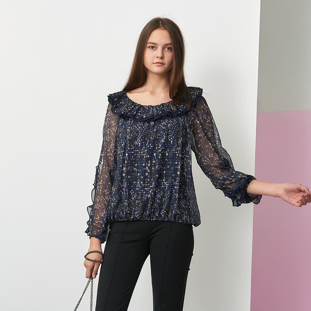 ICHE 衣哲 氣質荷葉拼接圓點雪紡紗印花造型上衣-紫外光色 @ Y!購物