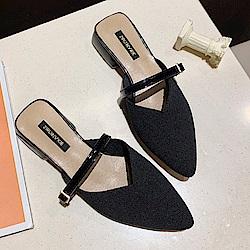 KEITH-WILL時尚鞋館 輕柔法式優雅尖頭粗跟鞋-黑色