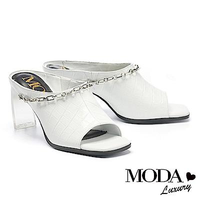 拖鞋 MODA Luxury 復古時尚鱷魚紋真皮高跟拖鞋-白