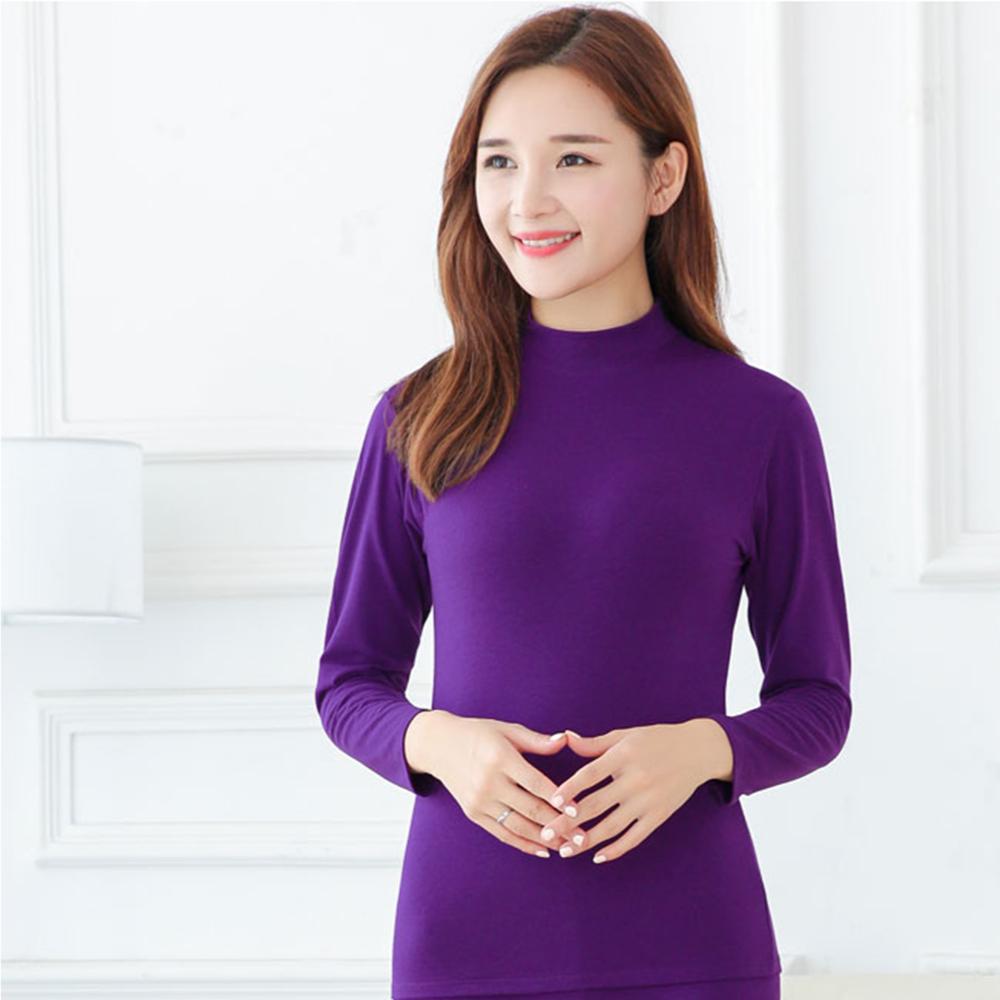 G+居家 女款輕磨毛暖暖發熱衣-立領-亮紫