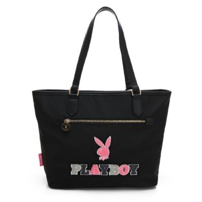 PLAYBOY-  托特包 毛毛兔系列-黑色