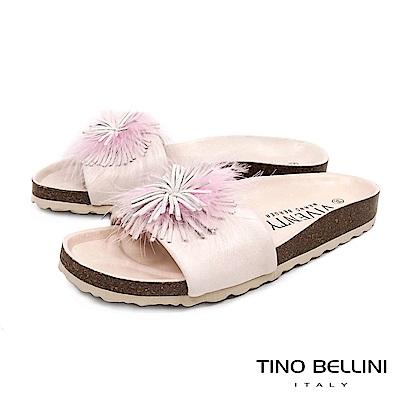 Tino Bellini 西班牙進口全真皮花飾舒足涼拖鞋 _ 粉膚