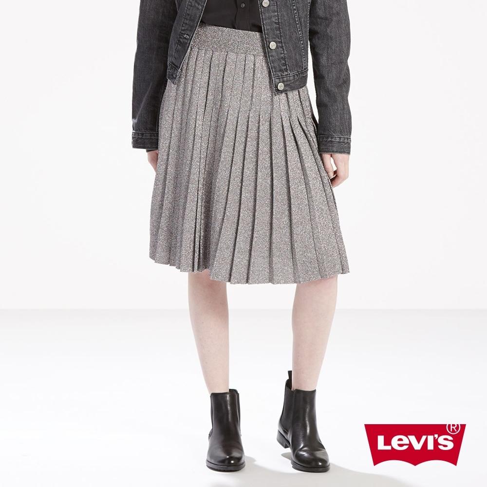 Levis 女款 羊毛打褶裙 金蔥