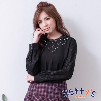 betty's貝蒂思 領口珠飾蕾絲雪紡上衣(黑色)