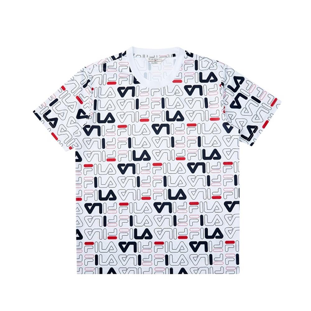 FILA 吸濕排汗短袖圓領T恤-白色 1TEV-1468-WT