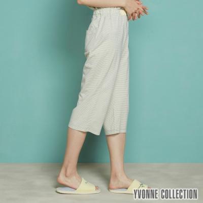 YVONNE 細條紋七分褲-暖陽黃L