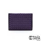 OCTAVIA8 真皮 - NEW德瑞克編織 小羊皮中性護照二用短夾 - 顯擺紫