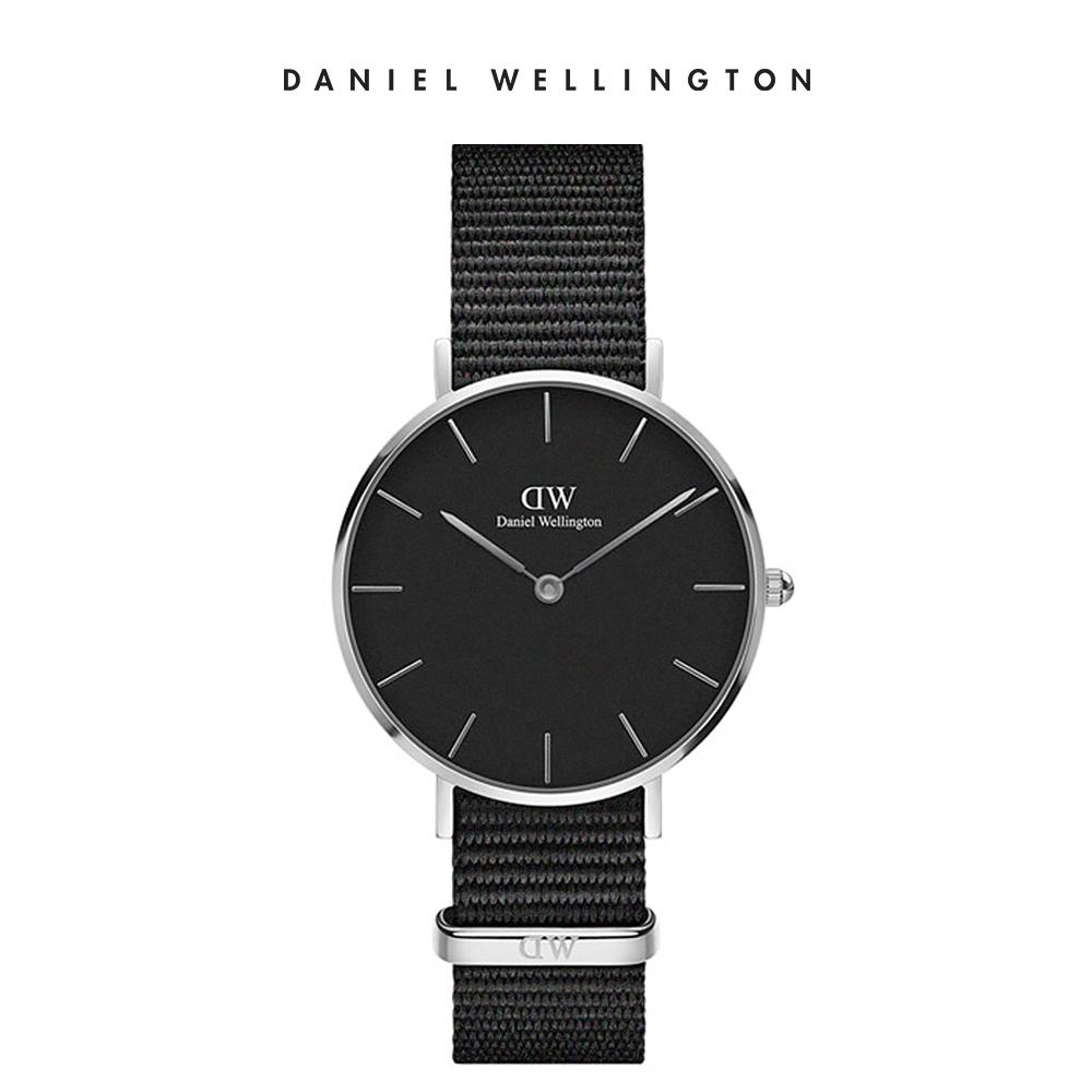 DW 手錶 官方旗艦店 32mm銀框 Petite 寂靜黑織紋錶