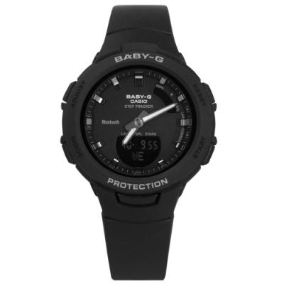 Baby-G CASIO 卡西歐 雙顯 藍牙連線 鬧鈴 防水 橡膠手錶-黑色/41mm