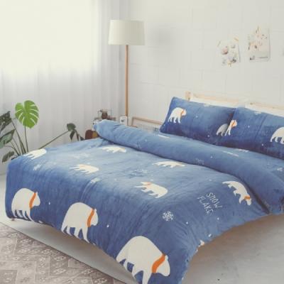 BUHO 極柔暖法蘭絨雙人床包三件組(漂浮星球)