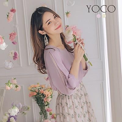 東京著衣-YOCO 柔美女孩澎袖簍洞蕾絲雪紡上衣-S.M.L(共兩色)