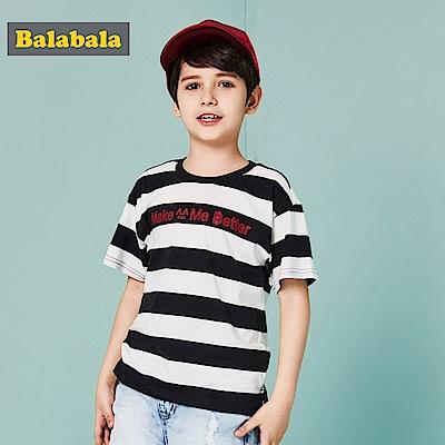 Balabala巴拉巴拉-經典條紋標語印花T恤-男(3色)