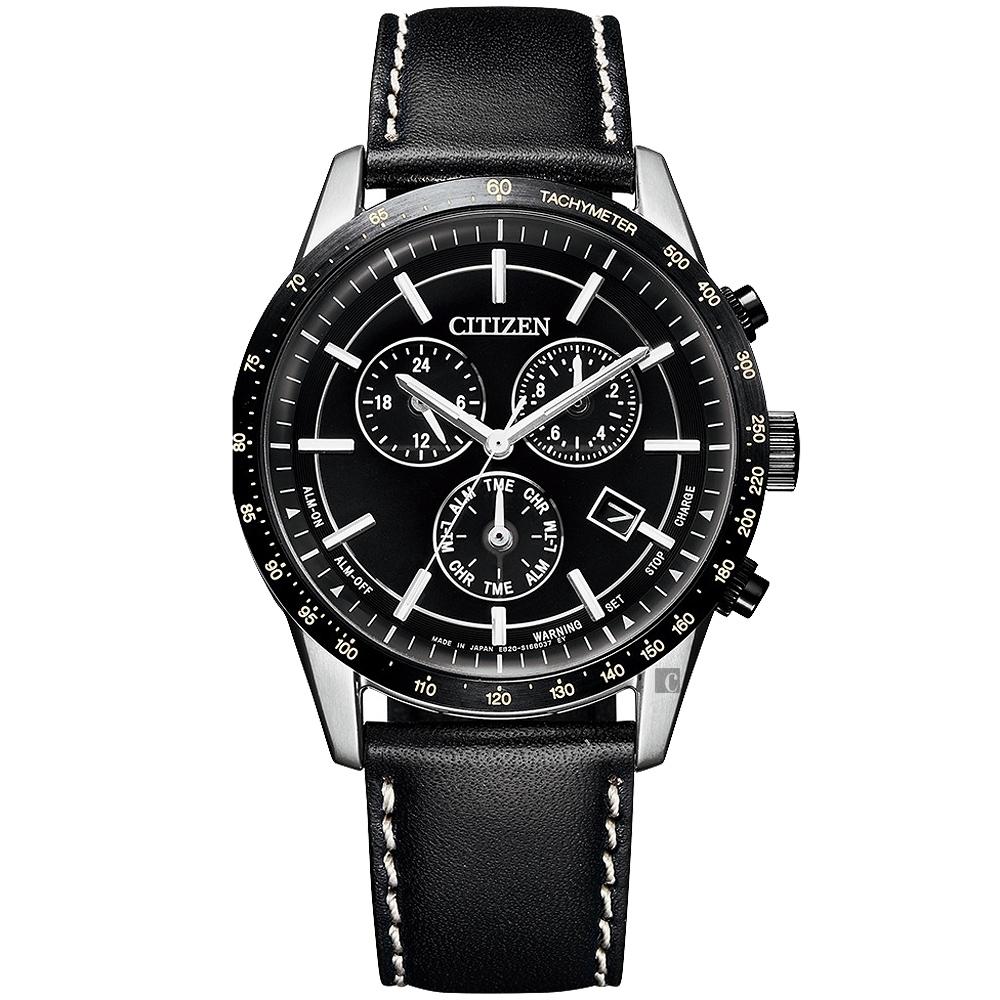 CITIZEN 星辰  限量萬年曆計時手錶-黑/39.5mm(BL5496-11E)