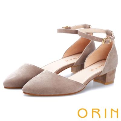 ORIN 時尚名媛 素面繫踝金屬釦帶尖頭粗跟鞋-絨可可
