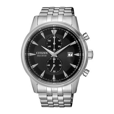 CITIZEN光動能時尚計時兩眼腕錶-銀X黑(CA7001-87E)-42mm