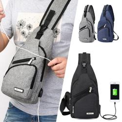 I FUN 簡約USB充電單肩運動胸包-3色