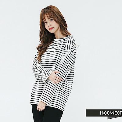 H:CONNECT 韓國品牌 女裝-鈕扣設計條紋上衣-黑