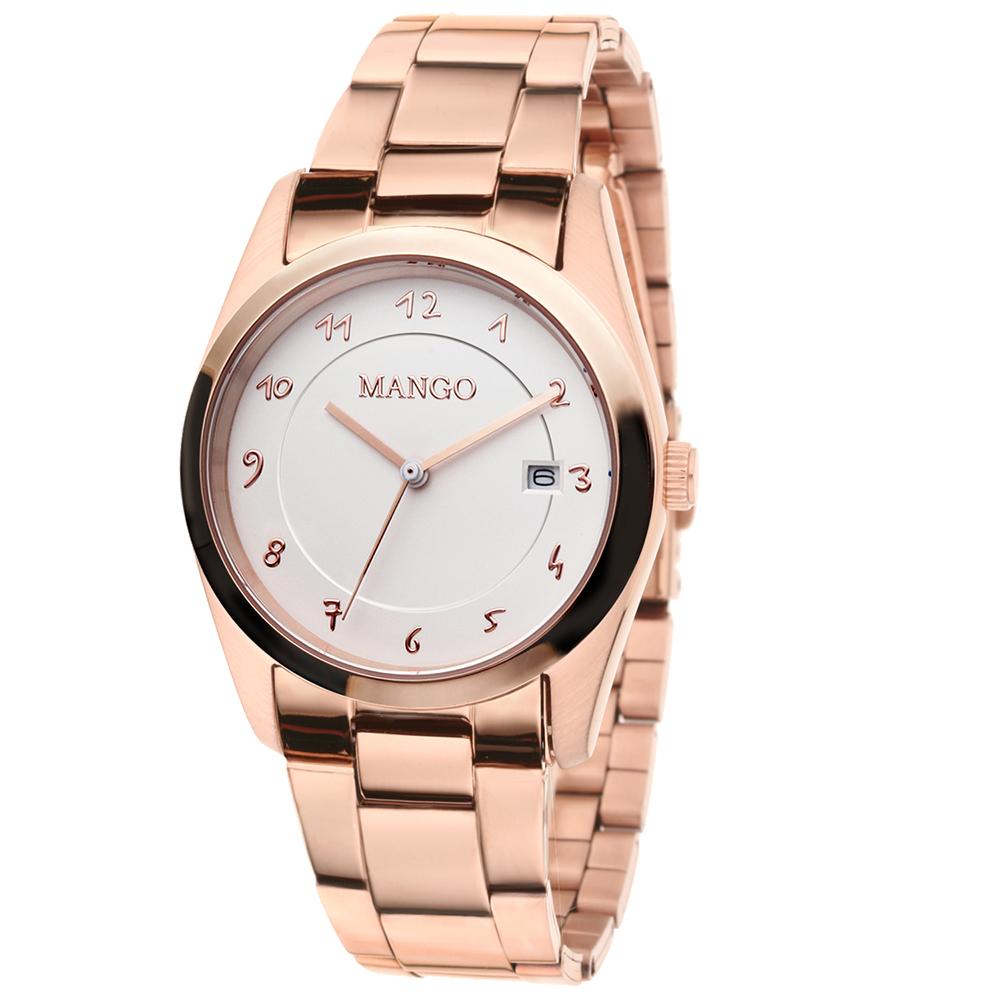 MANGO 日常時尚日期腕錶-玫瑰金/36mm