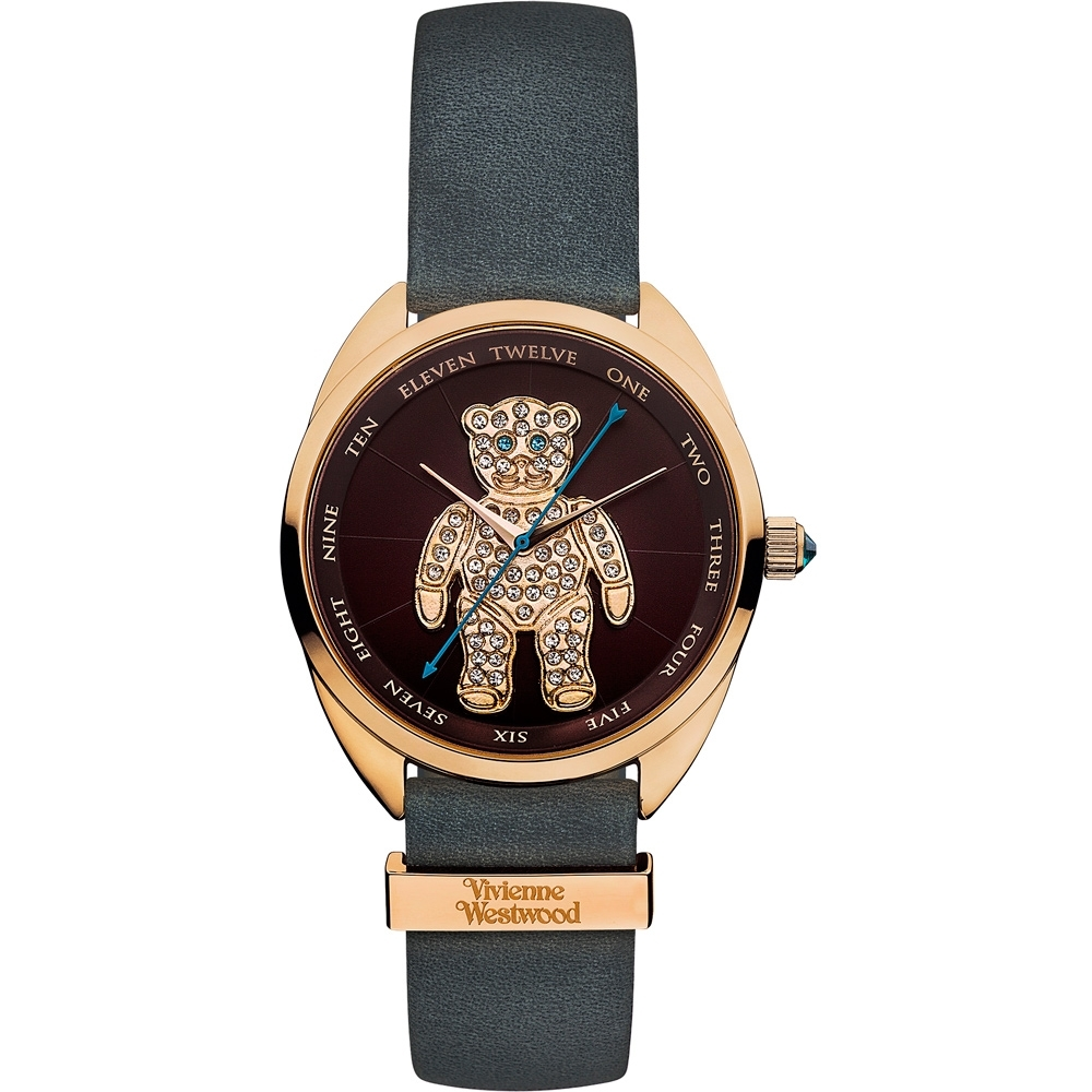 Vivienne Westwood 晶鑽泰迪 皮革腕錶-棕x玫瑰金x灰/38mm
