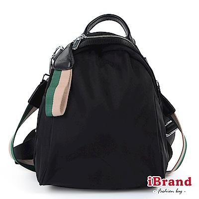 iBrand後背包 簡約漾彩織帶尼龍3way後背包-粉綠