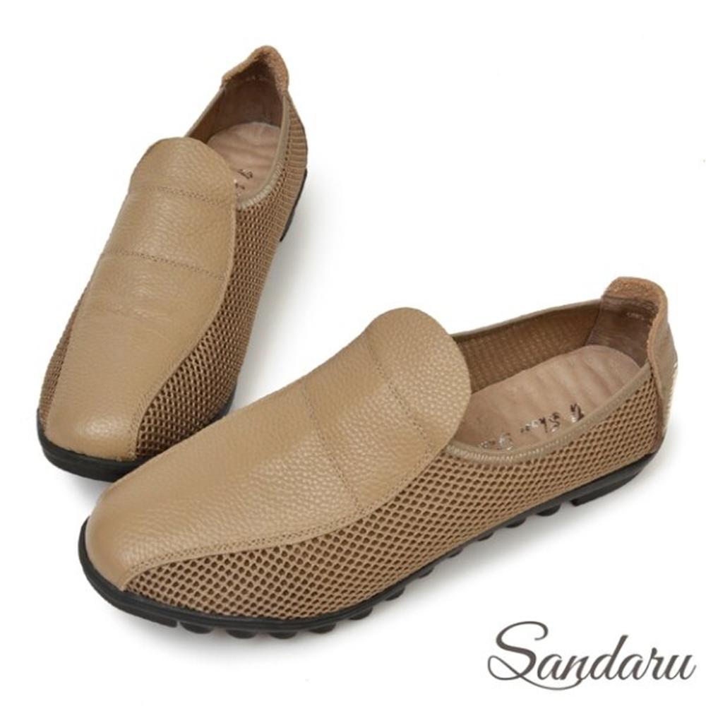 山打努SANDARU-全真皮拼接透氣網布機能休閒鞋-卡其 (卡其)