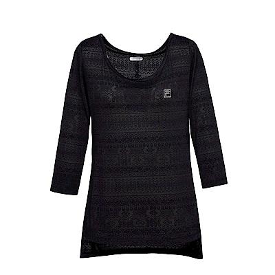 FILA女七分袖T恤-黑 5TES-5603-BK