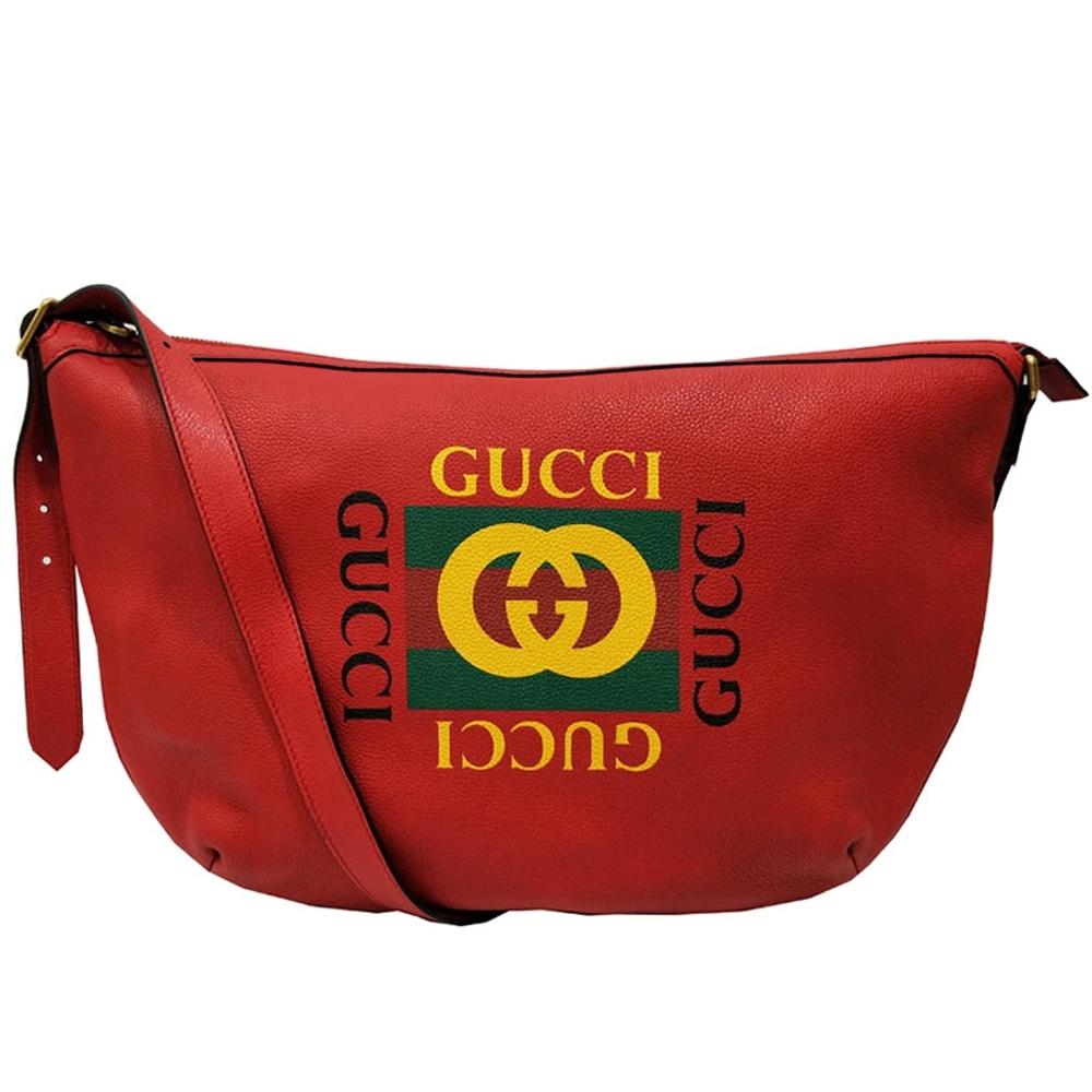 GUCCI   經典half-moon系列復古風格圖案小牛皮綠紅綠織帶半月型肩/斜背包(紅色)