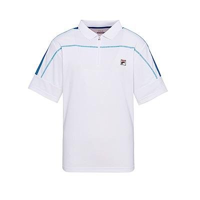FILA 男款抗UV吸濕排汗POLO衫-白 1POT-1003-WT