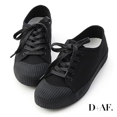 D+AF 悠閒主打.奶油頭綁帶帆布休閒鞋*黑