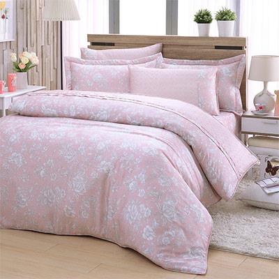 LASOL睡眠屋-40支/100%奧地利天絲 特大兩用被床罩六件組 紛紛花語粉