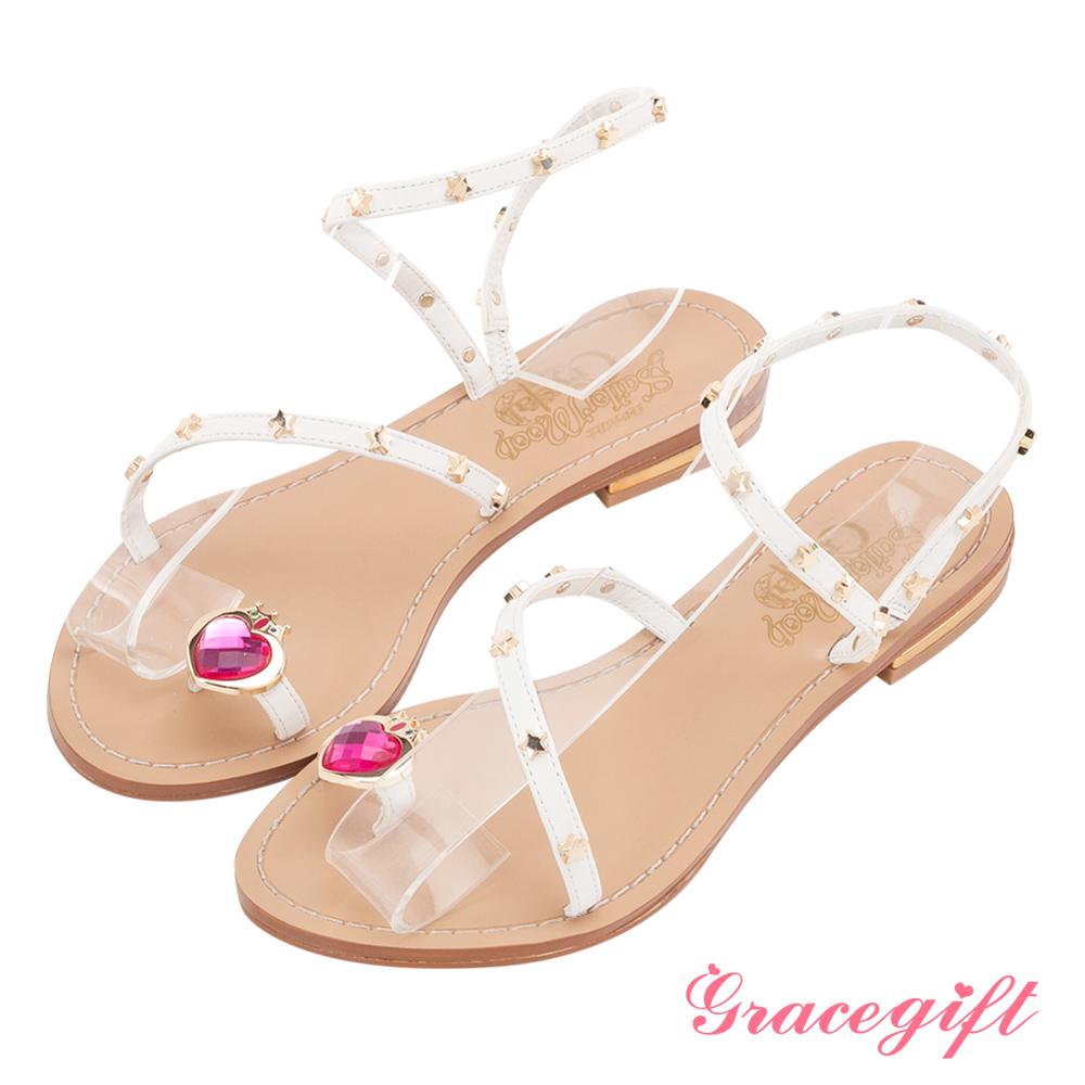 Grace gift-美少女戰士月光菱鏡繞帶涼鞋 白
