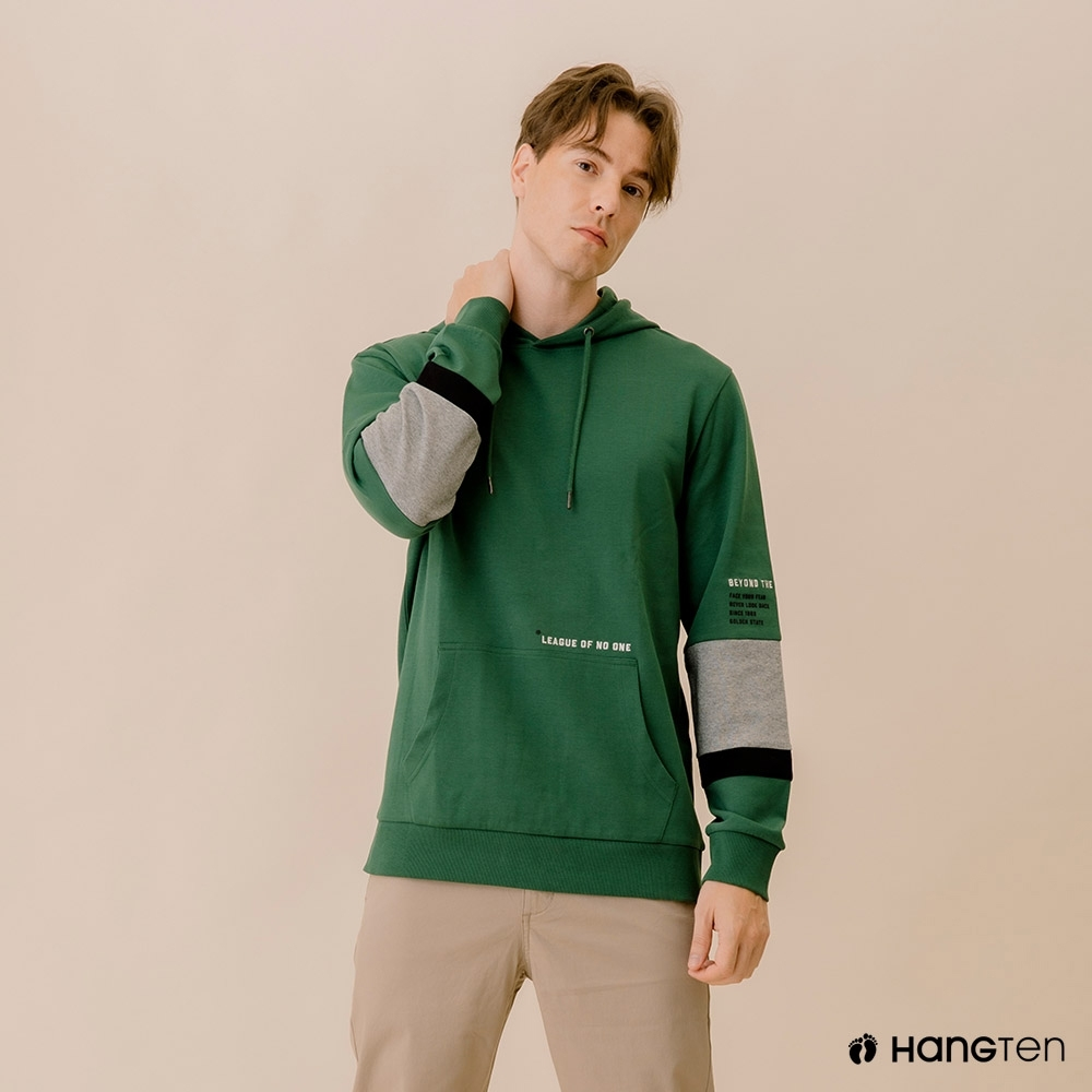 Hang Ten-男裝--撞色色塊連帽T恤-綠色