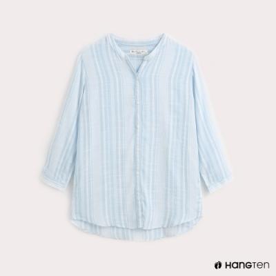 Hang Ten-女裝-條紋開襟混紡襯衫-藍