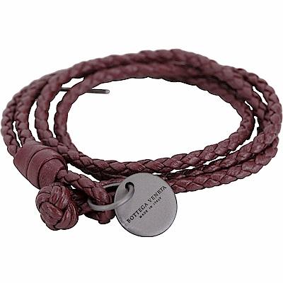 BOTTEGA VENETA 編織小羊皮雙繩多圈手環(紅梨色)