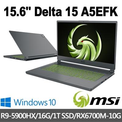 msi微星 Delta 15 A5EFK-012TW 15.6吋 電競筆電 (R9-5900HX/16G/1T SSD/RX6700M-10G/Win10)